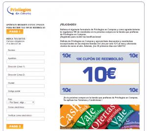 Página de Registro en Privilegios en Compras